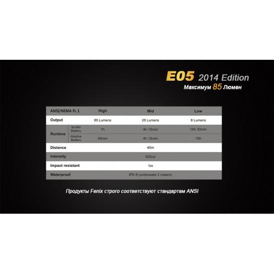 Фонарь Fenix E05 (2014 Edition) Cree XP-E2 R3 LED, фиолетовый