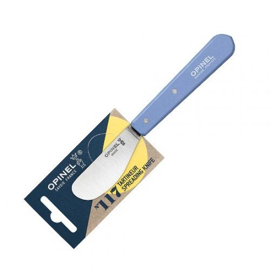 Нож для масла Opinel №117, деревянная рукоять, блистер, нержавеющая сталь, синий, 001937