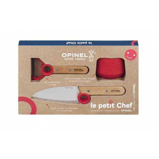 Набор ножей Opinel Le Petit Chef Set (Нож шеф-повара+нож для овощей+защита пальцев), 001746