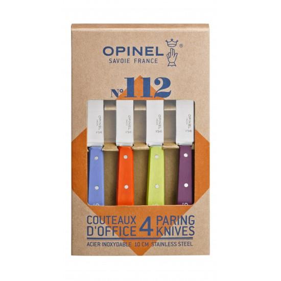 Набор ножей Opinel Set of 4 N°112 assorted sweet pop colours, нержавеющая сталь, (4 шт./уп.) 001381