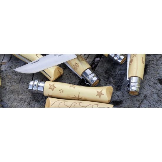 Нож складной Opinel №7 Nature, нержавеющая сталь, рукоять самшит, гравировка звезды