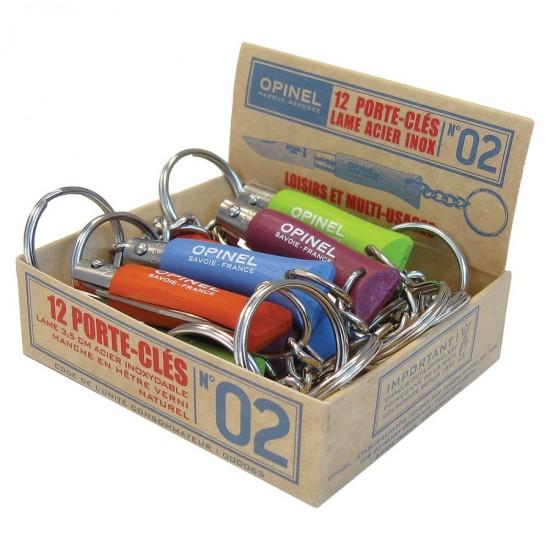 Набор-дисплей 12 шт: нож-брелок Opinel №2, нержавеющая сталь, голубой/оранжевый/зеленый/фиолетовый