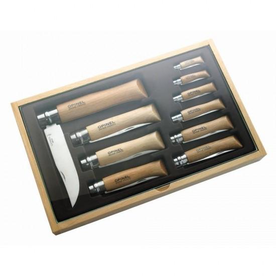 Набор Opinel в деревянной коробке из 10 ножей разных размеров из нержав стали