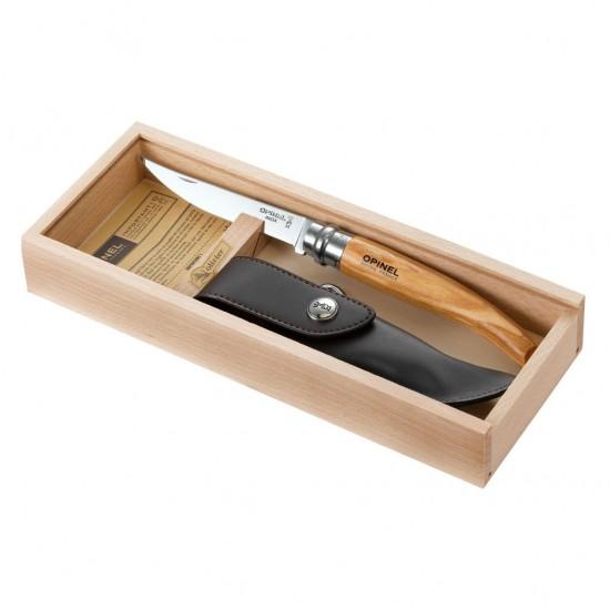 Нож филейный Opinel №10, нержавеющая сталь, рукоять оливковое дерев, чехол, деревянный футляр