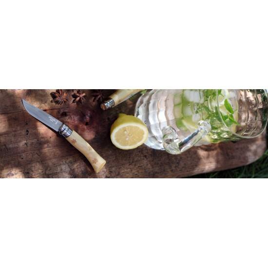 Нож складной Opinel №7 Nature, нержавеющая сталь, рукоять самшит, гравировка снежинки