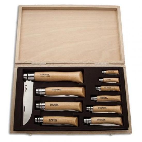 Набор Opinel в деревянной коробке с крышкой из 10 ножей разных размеров из нержав стали