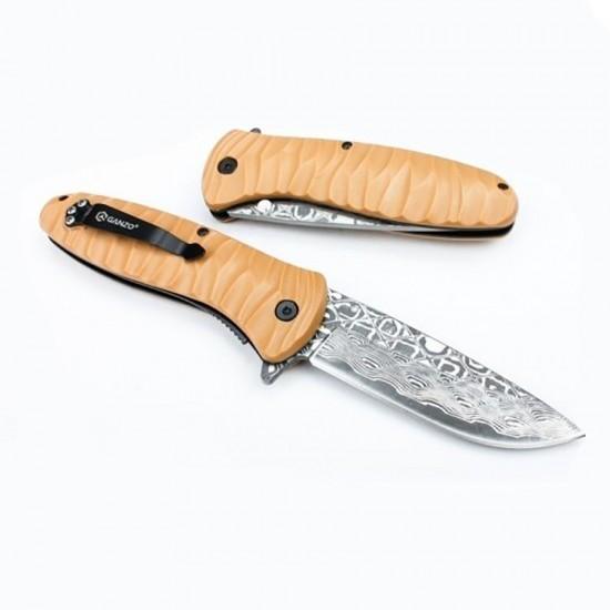 Нож складной Ganzo G620 желтый (травление)