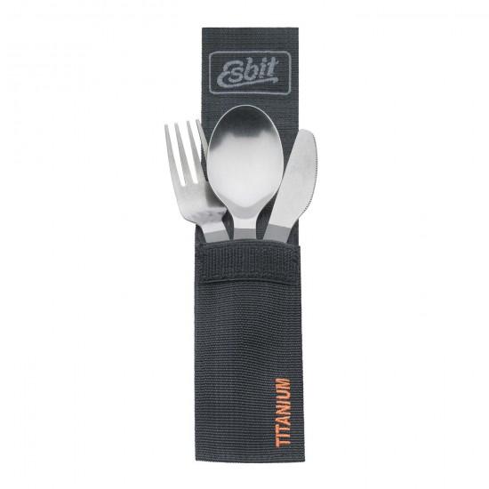 Столовый набор Esbit TC3-TI, титановый (ложка, вилка, нож) с карабином и чехлом